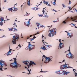 Tissu viscose rose à motif fleur bleu et rouge claret et blanche et grise x 10 cm