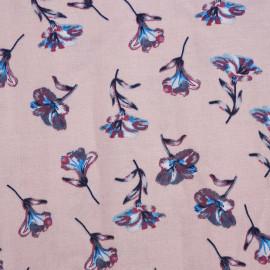 Tissu viscose rose à motif fleur bleu et rouge claret et blanche et grise - pretty mercerie - mercerie en ligne