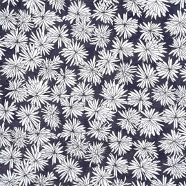 Tissu viscose bleu éclipse imprimé fleurs de printemps - pretty mercerie - mercerie en ligne