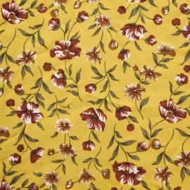 Tissu viscose lemon curry à motif fleurs rouges briques et vertes et blanches - pretty mercerie - mercerie en ligne