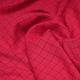 Tissu rouge lollipop à carreaux tissé noir x 10cm