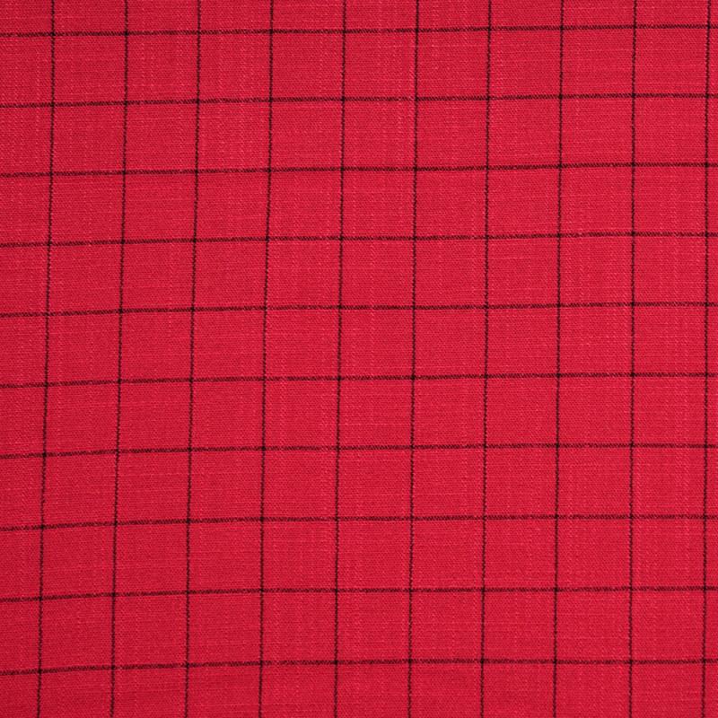Tissu rouge lollipop à carreaux tissé noir  - pretty mercerie - mercerie en ligne