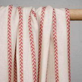 Tissu coton écru à rayures et motifs rouges tissées   - pretty mercerie - mercerie en ligne
