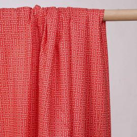 Tissu coton rouge motifs imprimé effet géométrique pois blanc  - pretty mercerie - mercerie en ligne