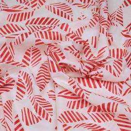 Tissu coton blanc cassé à motif feuilles rouges rayées - pretty mercerie - mercerie en ligne