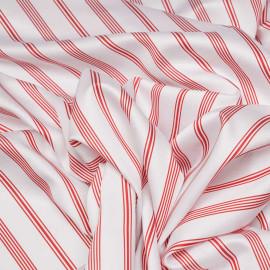 Tissu coton et tencel blanc à rayures rouges x 10cm