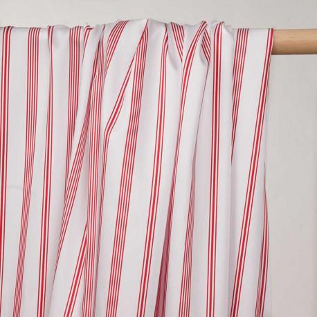 Tissu coton et tencel blanc à rayures rouges  - pretty mercerie - mercerie en ligne