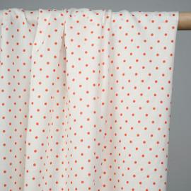Tissu coton léger blanc motif imprimé petits pois rouge tomate cerise  - pretty mercerie - mercerie en ligne