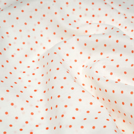 Tissu coton léger blanc motif imprimé petits pois rouge tomate cerise x 10cm