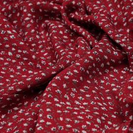 Tissu viscose rouge tango à motif mini fleurs blanches et bleues et vertes X 10 CM