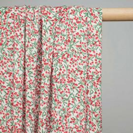 Tissu viscose blanche à motif cerises rouges et feuilles vertes - pretty mercerie - mercerie en ligne