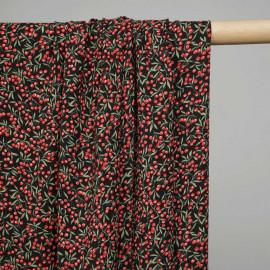 Tissu viscose noir à motif cerises rouges et feuilles vertes - pretty mercerie - mercerie en ligne
