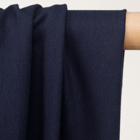 Tissu polo maille piquée bleu marine - pretty mercerie - mercerie en ligne