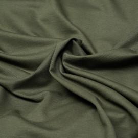 Tissu polo maille piquée vert kaki x 10cm