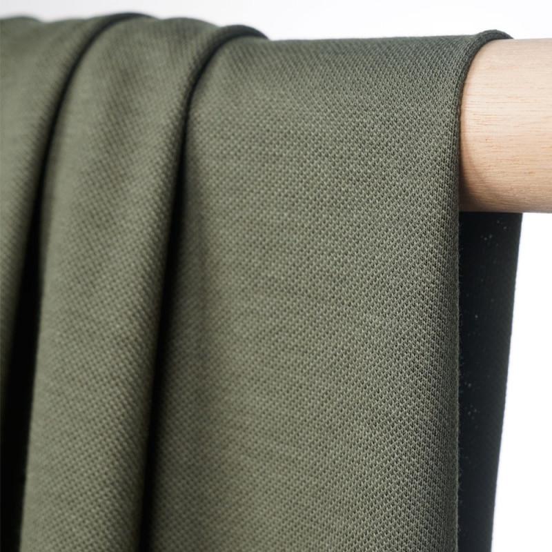 Tissu polo maille piquée vert kaki  - pretty mercerie - mercerie en ligne