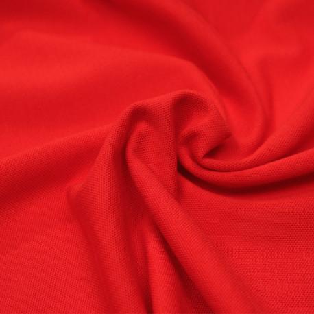 Tissu polo maille piquée rouge poppy - pretty mercerie - mercerie en ligne