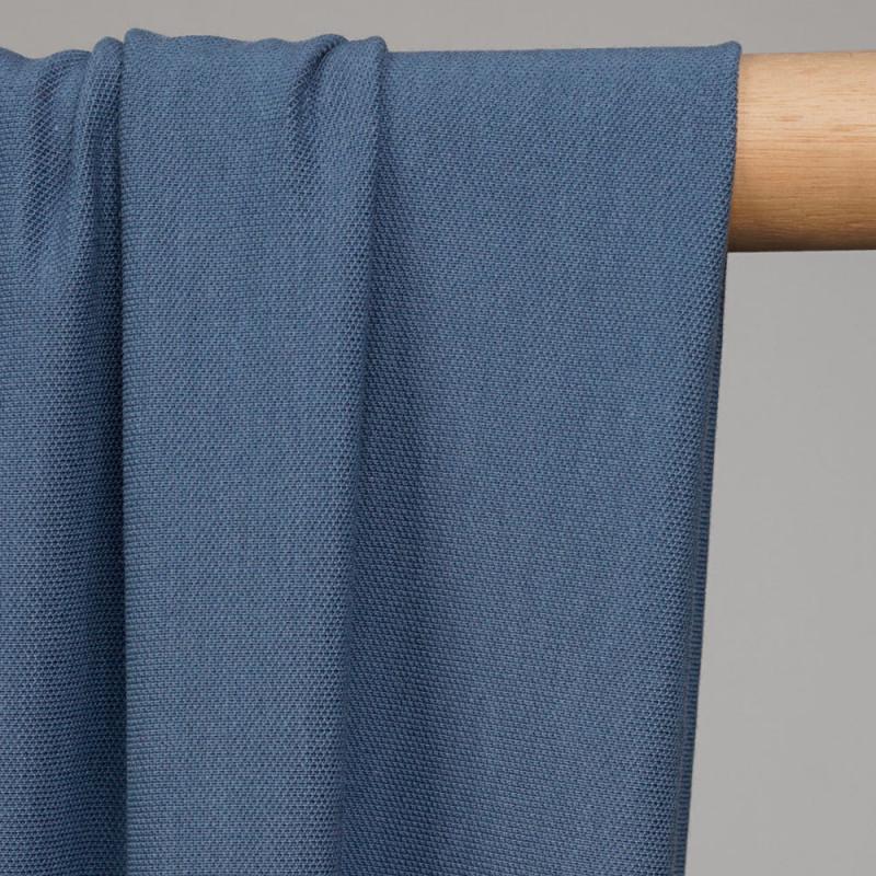 Tissu polo maille piquée airy blue  - pretty mercerie - mercerie en ligne