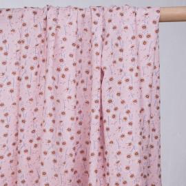 Tissu coton et viscose rose motif imprimé pissenlits-pretty mercerie - mercerie en ligne