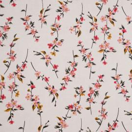 Tissu viscose blanc à motif branches fleuries -pretty mercerie - mercerie en ligne