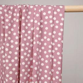Tissu viscose dusty rose à motif pois blanc-pretty mercerie - mercerie en ligne