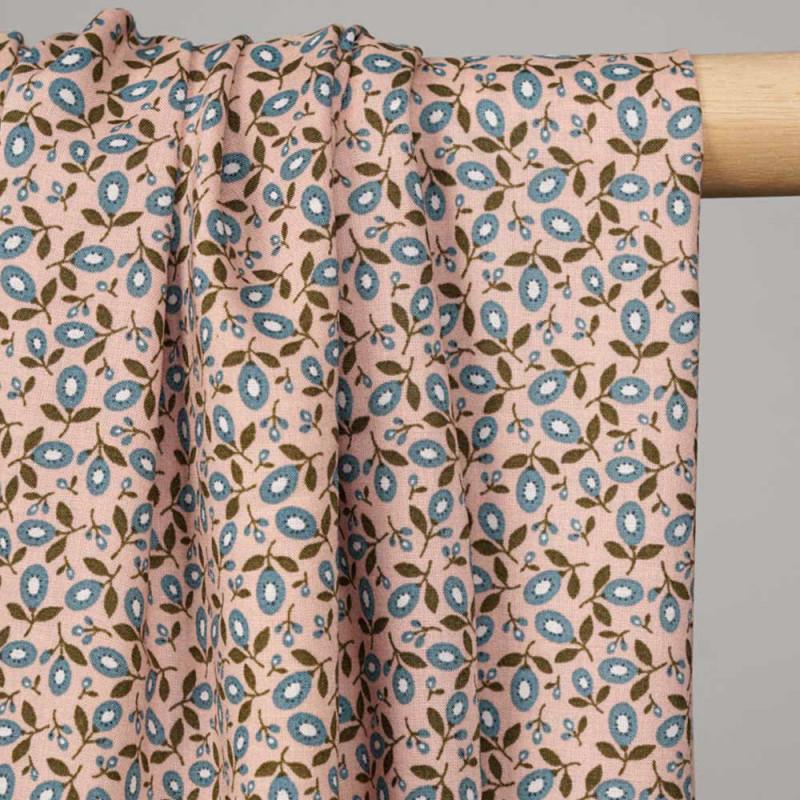 Tissu viscose rose cameo à motif fleuri abstrait bleu et vert -pretty mercerie - mercerie en ligne