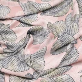Tissu viscose rose peachskin à motif feuilles de palmier blanches et grises et citron -pretty mercerie - mercerie en ligne