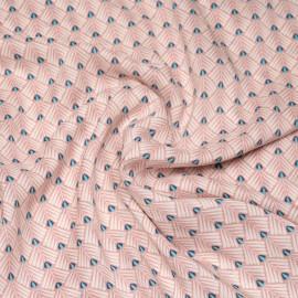 Tissu viscose rose poudré à motif ethnique rayé blanc et bleu X 10 CM
