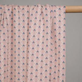 Tissu viscose rose poudré à motif ethnique rayé blanc et bleu- pretty mercerie - mercerie en ligne