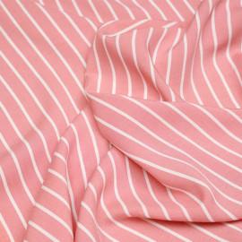 Tissu viscose rose lantana à rayures blanches X 10 CM