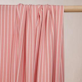 Tissu viscose rose lantana à rayures blanches - pretty mercerie - mercerie en ligne