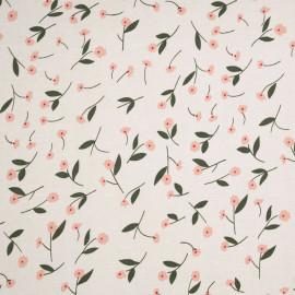 Tissu viscose blanc cassé à motif petites fleurs roses et vertes  - pretty mercerie - mercerie en ligne