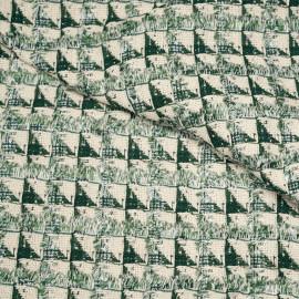 Tissu jacquard tweed écru motif géométrique à frange vert et fil lurex argent x 10 CM