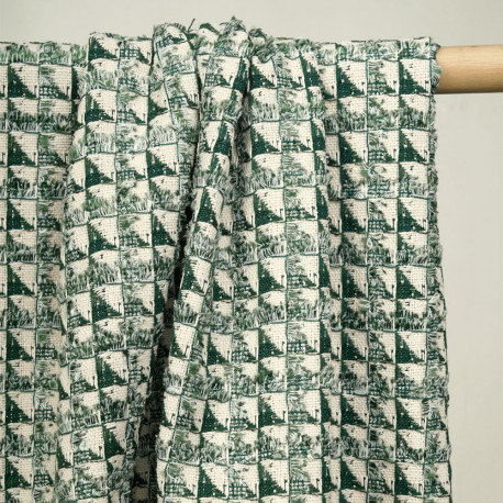 Tissu jacquard écru motif géométrique à frange vert et fil lurex argent  - pretty mercerie - mercerie en ligne