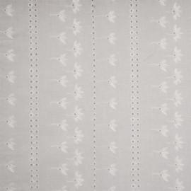 Tissu coton brodé blanc à motif bandes fleuries et ronds ajourés - pretty mercerie - mercerie en ligne