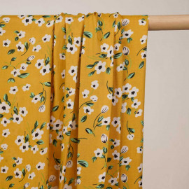 Tissu viscose golden glow à motif fleurs blanches noir et vertes - pretty mercerie - mercerie en ligne