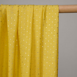 Tissu viscose leger jaune ceylan à motif étoile dorée  - pretty mercerie - mercerie en ligne