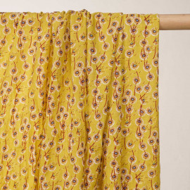 Tissu coton et viscose jaune aurora motif imprimé pissenlits  - pretty mercerie - mercerie en ligne