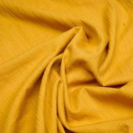 Tissu coton miel doré rayures et croix tissées X 10 CM