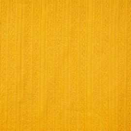Tissu coton jaune mineral rayures et croix tissées  - pretty mercerie - mercerie en ligne