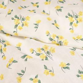 Tissu coton blanc à motif petites fleurs jaunes aurora et vertes X 10 CM