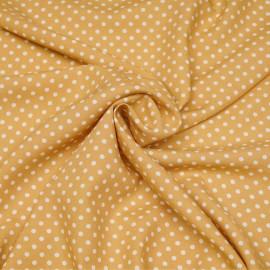 Tissu viscose beige rotin à motif pois blanc X 10 CM