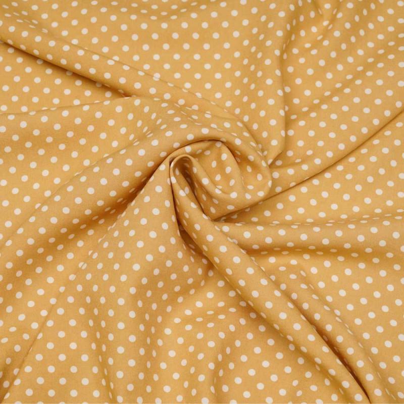 Tissu viscose beige rotin à motif pois blanc  - pretty mercerie - mercerie en ligne