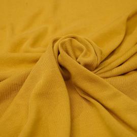Tissu jersey cupro jaune moutarde x 10cm