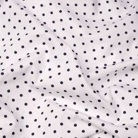 Tissu coton blanc à motif pois bleu marine X 10 CM