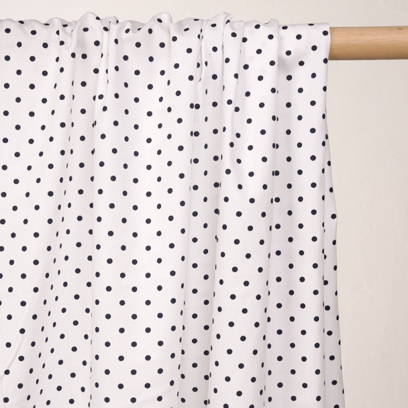Tissu coton blanc à motif pois bleu marine - pretty mercerie - mercerie en ligne