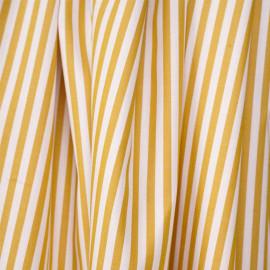 Tissu coton blanc à motif rayures tissées moutarde  - pretty mercerie - mercerie en ligne
