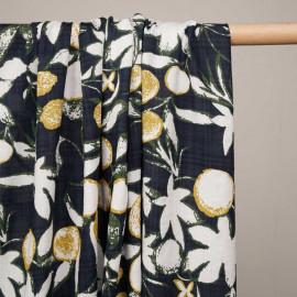 Tissu coton et viscose bleu à motif citron abstrait et fines rayures froissées  - pretty mercerie - mercerie en ligne
