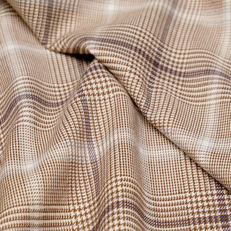 Tissu Prince de Galles écru cacao gris et bleu  - pretty mercerie - mercerie en ligne