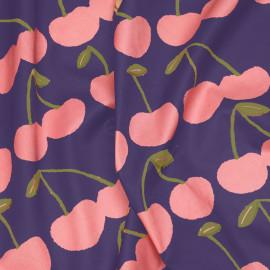 Tissu coton mirtille imprimé cerise rose et vert X 10 CM