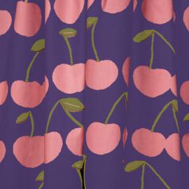 Tissu coton mirtille imprimé cerise rose et vert - pretty mercerie - mercerie en ligne